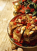 Spice cake with nuts; candied cherries