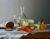 Cheese Still Life with White Wine & Nut Bread