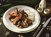 Roasted Cutlet with Shiitake Mushrooms & Rice