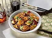 Fried Noodles with Shrimp and Mushrooms