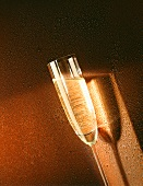 A Glass of Sparkling Wine; Dew Drop Background