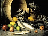 Fresh Fish Still Life with Citrus and Onions; Seaweed