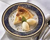 A piece of lemon tart with lemon ice cream