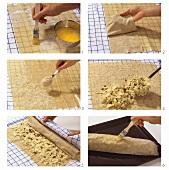 Preparing quick apple strudel