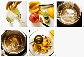 Preparing exotic fruits in wine jelly
