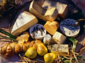 Various Kinds of Cheese; Pears and Bread