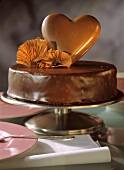 Chocolate cake with chocolate heart
