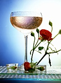 Rose and champagne drink