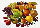 Assorted fruit on sheet of glass