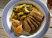 Duck breast with courgette and apricot casserole