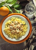 Ribbon noodles with salmon and mascarpone sauce