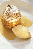 Baked Apple with Meringue Cover & Vanilla Mousse