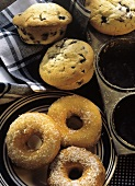 Blueberry muffins and doughnuts