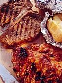 T-Bone Steak; Spareribs & Baked Potatoes