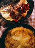 Raspberry omelette and apple pancake