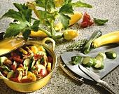 Zucchini-Bell Pepper Stew with Pork