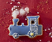 Decorated Cookie in the Shape of a Train