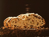 Four slices of Christmas stollen