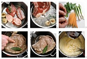 Preparing boiled rib of beef on vegetables