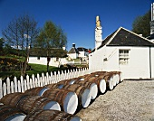 Barrels in front of Edradour, Scotland's smallest whisky distillery