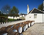 Fässer vor Schottlands kleinster Whiskydestillerie Edradour