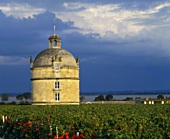 The tower of Chateau Latour, the finest vineyard in the Medoc, France