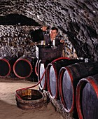 Cellar master Borsos in the Kereskedöhaz at Tokaj, Hungary