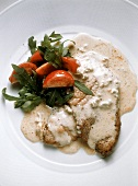 Veal Escalopes with Gorgonzola Cheese Sauce & Salad