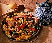 Paella - Rice Pan Dish with Seafood