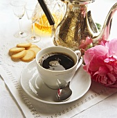 A Cup of Coffee; Silver Coffee Pot; Cookies & Liqueur