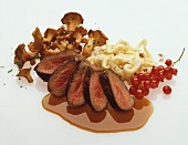 Saddle of venison with noodles (spätzle) & chanterelles