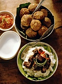 Meatballs with Coconut and Beef Over White Rice