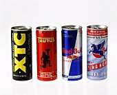 Four energy drinks: XTC, Taurus, Red Bull, Flying Horse