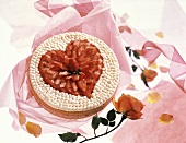 Heart-shaped strawberry cream gateau