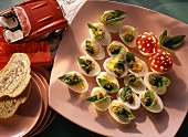 Basil eggs and mushroom eggs as party snacks