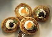 Buckwheat Pancakes with Cream and Caviar