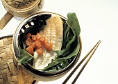 Turbot Fillet on Leaves with Tomato; Bamboo Steamer