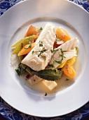 Stewed cod with vegetables