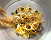 Cuttlefish Salad with yellow Bell Pepper and Olives