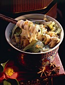 Noodle and Chicken Soup with Vegetables; Chopsticks