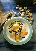 Apple pistachio ice cream with chocolate leaves
