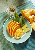 Baked Goat Cheese with Melon Wedges