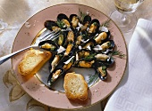 Baked blue mussels with parmesan