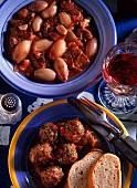 Stifado & Smyrna sausage (meatballs on tomatoes)