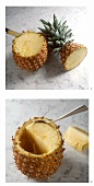 Hollowing out a pineapple (cutting out the flesh)