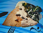 Ray wings in creamy caper sauce with chard