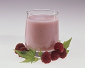 Raspberry Milkshake with Fresh Raspberries