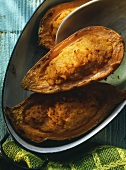 Baked sweet potatoes in baking dish