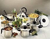 Assorted Steel Pots and Pans
