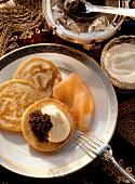 Black Caviar with Buckwheat Pancakes